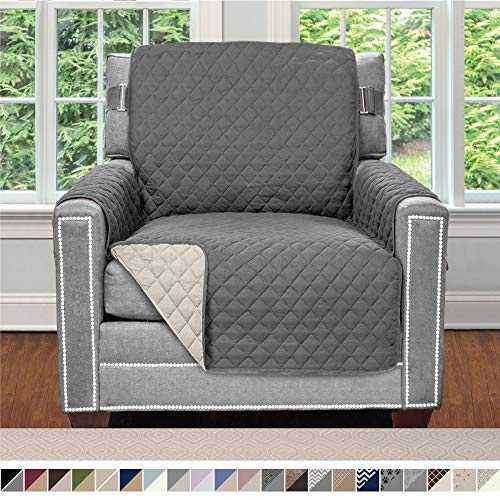 Sofa Shield Original Patent Pending Reversible Chair Protector for Seat Width up to 23 Inch, Furniture Slipcover, 2 Inch Strap, Chairs Slip Cover Throw for Pets, Kids, Cats, Armchair, Charcoal Linen