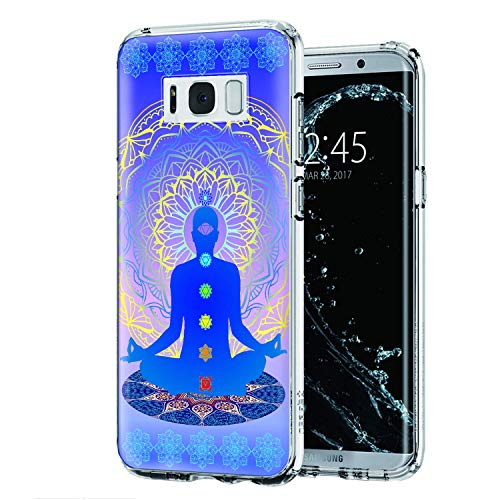 Cocomong Chakra Yoga Case Compatible with Samsung Galaxy S8, Clear Soft TPU Mandala Phone Case for Galaxy S8(2018) Design for Women Men