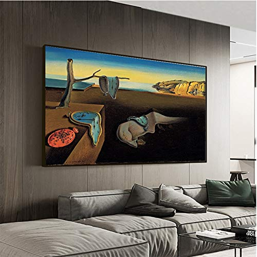 RTCKF Salvador Dali The Persistence Of Memory Clocks Surreal Canvas Print Painting Poster art Wall Pictures for Living Room Home Decor 60x90CM (Frameless)