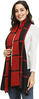 Womens Cashmere Feel Classic Plaid Polka Dot Pashmina Shawls Wraps Scarf(20 Colors Available)