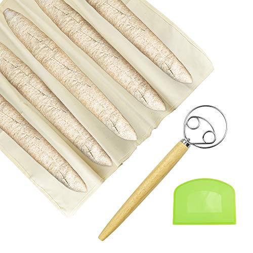 CODIRATO Juego de Tela Fermentada de Algodón Paño Panadero 100% Natural Raspador de Plástico y Batidor de Masa de Acero Inoxidable Tela Panadero de Lienzo para Fermentar Pan, Baguette