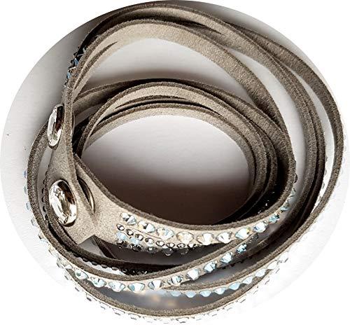 Slake Deluxe Armband Alcantara 36/38cm 12,27g grau crystal