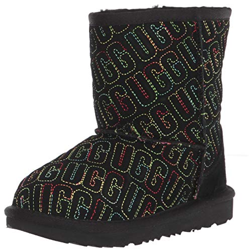 UGG unisex child Classic Ii Graphic Stitch Fashion Boot, Black, 12 Little Kid US