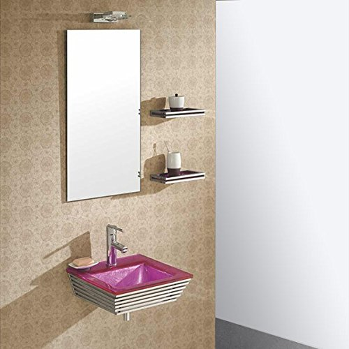 Wikao Lavabo Suspendu Verre Rose et Chrome Bubble - Rose