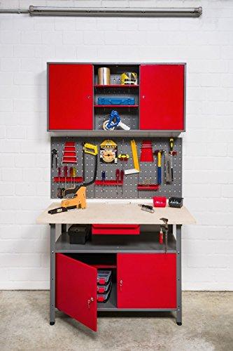 Große Werkstatteinrichtung bestehend aus 2 x Werkbank mit 2 abschließbaren Türen, 2 x Werkstattschrank mit zwei abschließbaren Türen und 2 x Lochwand Metall mit 14tlg. Hakensortiment. Topp Preis / Leistungsverhältnis - 2