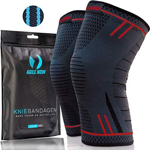 AGILE NOW Kniebandage [2er Set ] [M - XL] Premium inkl. Ultimativer Ratgeber E-Book die Kniebandage Männer Sport & Kniebandage Damen Rot XL