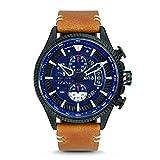 AVI-8 Men's 45mm Brown Genuine Leather Band Steel Case Quartz Blue Dial Analog Watch AV-4064-01