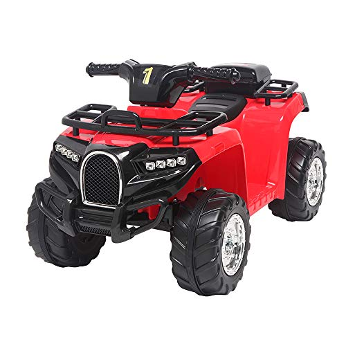 Four Wheeler for Kids,12V Kids Electric 4-Wheeler ATV Quad Ride On Car,Small Beach Bike Single Drive Battery (Red)