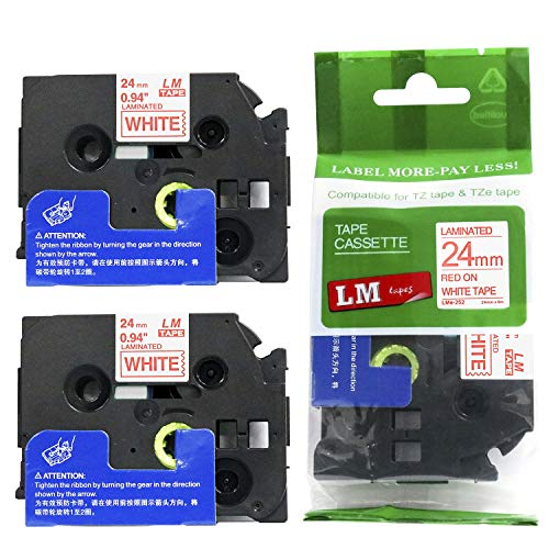 """2/Pack LM Tapes - Premium 1"""" Red Print on White Label (24mm 0.94 Laminated) Compatible with Brother TZe-252 P-Touch Tape and Comes with a Great Tape Color/Size Guide for Easy reordering."""