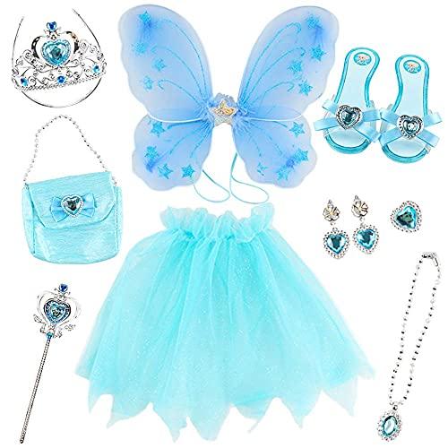 deAO Disfraz de Hada Juego Infantil de Imitacin Princesa de Cuento de Hadas Conjunto Incluye Alas de Mariposa, Falda Tut, Zapatos, Joyas, Tiara, Barita Mgica y Bolso de Mano (Azul)