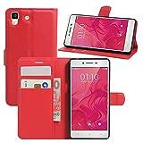 HualuBro Oppo R7 Hülle, [All Aro& Schutz] Premium PU Leder Leather Wallet HandyHülle Tasche Schutzhülle Flip Hülle Cover mit Karten Slot für Oppo R7 Smartphone (Rot)