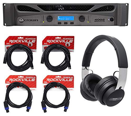 Best Price Crown Pro XTI4002 XTI 4002 3200w DSP Amplifier+Audio Technica Headphones+Cables