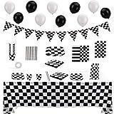 OOTSR 75 Pezzi Forniture per Feste da Corsa, Monouso Stoviglie Set Decorazioni Festa di Compleanno a Scacchi-Include Tovaglia, Striscioni, Piatti di Carta, Tovaglioli, Palloncini Serve 10 Ospiti