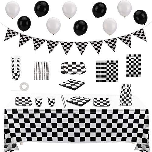 OOTSR 75 Piezas Suministros para Fiestas de Autos de Carreras-Decoración de Fiesta Temática de Carreras-Pancarta de Feliz Cumpleaños Mantel Platos Tazas Servilletas para Chicos-Sirve 10 Invitados