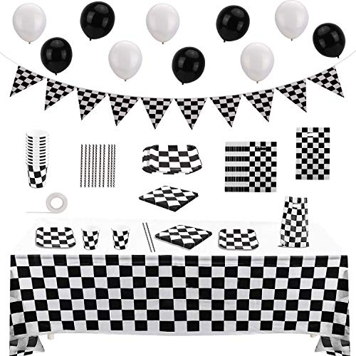 OOTSR 75 Pack Race Car Party Supplies-Disposable Dinnerware Set-Serves 10 Guests-Racing Theme Party Pack-Includes Banner Pennant, Balloons, Tablecloth, Ribbon, Tableware, Napkins, Gift Bags