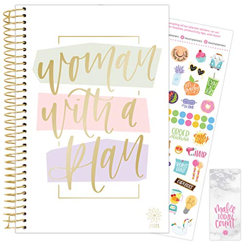 """bloom daily planners 2021 Calendar Year Day Planner January 2021 - December 2021 - 6"""" x 825"""" - WeeklyMonthly Agenda Organizer Book with Stickers Bookmark - Woman With a Plan"""