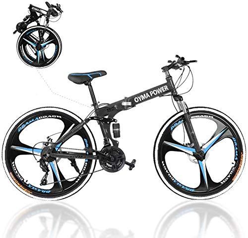 2021 New Folding Bike 21 Speed Mountain Bike 3 Spoke 26in Double Disc Brake Bicycle Folding Bike for Adult Teens Bicycle Full Suspension MTB Bikes Black