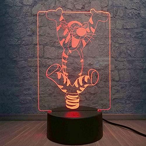 Colyya Tigger LED Night Light Child Animal de dibujo animado Winnie ami Lámpara 3D escritorio creativo exhibición fiesta cumpleaños