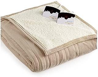 Biddeford MicroPlush Sherpa Electric Heated Blanket Queen Taupe