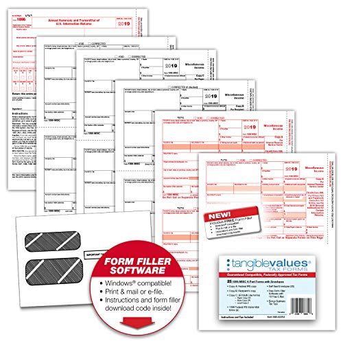 Tangible Values 1099 Misc Laser Forms (4-Part) Kit with Env for 25 Vendors