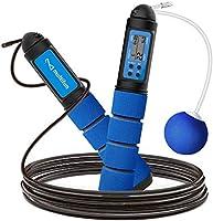 multifun Springseil mit digital Zähler, Speed Rope, Stahl Seil mit PVC Ummantelung, Profi Kugellager & Anti-Rutsch...