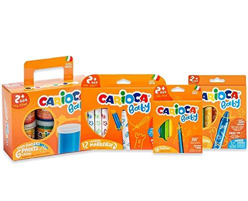 Carioca Set Baby 2+   Kit Colori con Pennarelli Super Lavabili, Pastelli a Cera Colorati, Matitoni e Tempere a Dita per Bambini dai 24 Mesi, 36 Pezzi