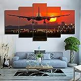 XZWYB Avión Atardecer Paisaje Urbano 5 Panel Lámina del Paisaje del Arte impresión en Lona Cuadros de la Pared de la Foto,para el hogar decoración Moderna impresión