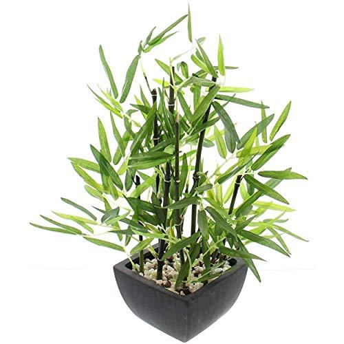 Hogar y Mas Planta Bambu Artificial con Maceta Negra Cemento, Bambú con Piedras, Decoración de Interior.