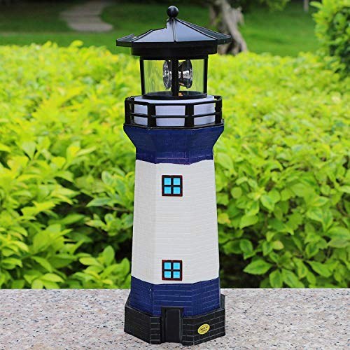 Solar Garden Lighthouse, White and Blue Lighthouse statutte with Rotating Lamp Outdoor Decorative LED Lights for Garden Patio Lawn