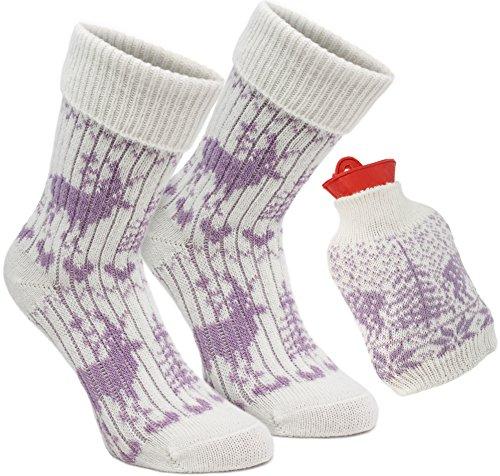 Brubaker Kuschel Geschenk Set Warme Füße Damen Norweger Socken Woll-Weiß/Flieder - mit Wärmflasche Rot