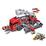 Himoto HSP Camión 2 en 1 con aparcamiento integrado, juego de juguetes en un bonito diseño, fácil de transportar para tus hijos, coches, helicópteros y vehículos de construcción.