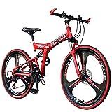 "AlfaView 26"" Bikes Bicicleta Montaña Plegable Suspensión Completa, Cambio Shimano de 21 Velocidades, Doble amortiguación, Doble Disco,3 Rueda de radios,Bicicleta para Hombres, Montar al Aire Libre"