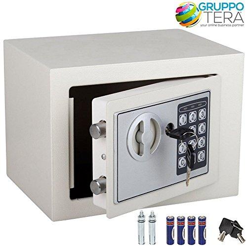 Bakaji Cassaforte a Muro Numerica Digitale 23 x 17 x 17 cm Cassetta di Sicurezza Elettronica Casa Albergo Hotel Safe + 4 x AA Batterie e Chiavi di Emergenza Colore Beige