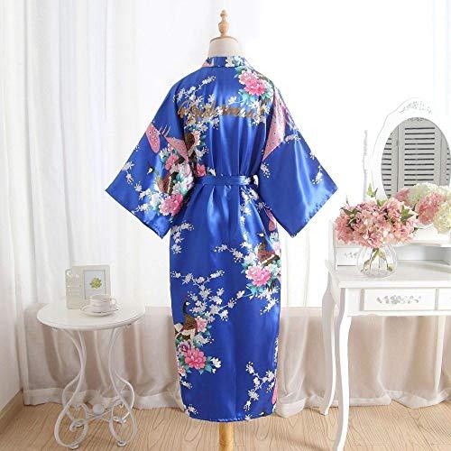 HIUGHJ Albornoz de Seda Seda Dama de Honor Novia Bata Bata de mucama Madre de la túnica Mujeres Satén Boda Kimono Vestido camisón Sexy, Dama de Honor Real, L