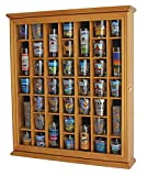 41 Shot Glass Display Case Cabinet Holder- with Glass Door, Oak Finish (SC03-OA)