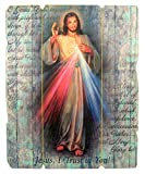 Laser Cut Wood Divine Mercy Icon Wall Plaque, 9 1/4 Inch
