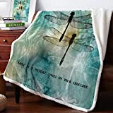 Warm Soft Fleece Throw Blanket, Ink Painting Dragonfly Wings - Cozy Plush Lightweight Blanket | Winter Couch Bed Sofa Decorative Microfiber Fleece Throws, 39' x 49'