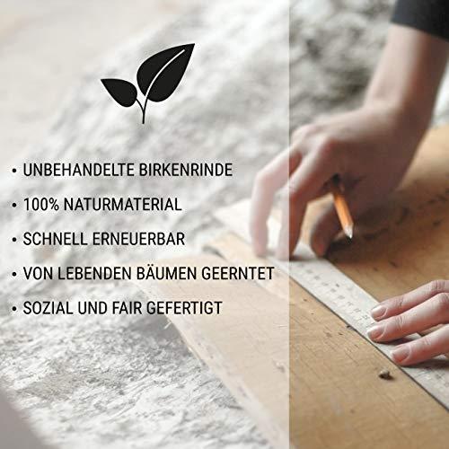 MOYA Wald Wanddeko aus Birkenrinde auf Holz - Moderne Wandverkleidung Birke Natur in Einer 3D Relief Optik – Wandpaneele Birke skandinavisch handgefertigt - Wandbild Natur Holzbild mit Rahmen,26x39cm - 3