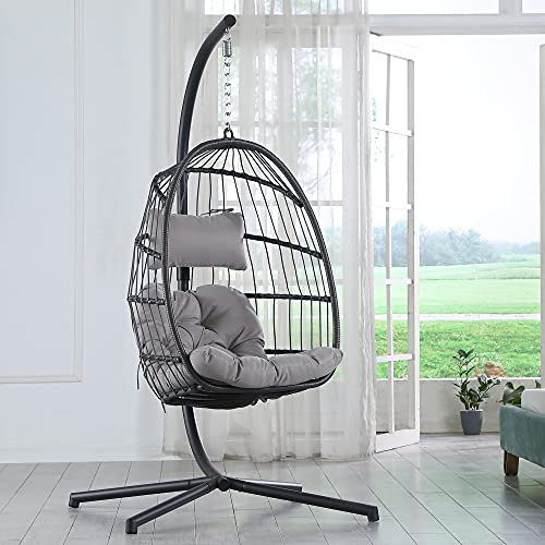 Brafab Swing Egg Chair, Hammock Chair, Hanging Chair,Aluminum Frame and UV Resistant Cushion with Steel Stand for Indoor Outdoor Patio Porch Bedroom Wicker Rattan Hand Made Chair 350LBS Capacity