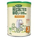 Blédina Les Récoltes Bio lait de croissance 3ème âge (12 - 36 mois) - Lait de croissance en poudre, dès 1 an et jusqu'aux 3 ans de bébé  - Pack de 6 Boîtes de 800g
