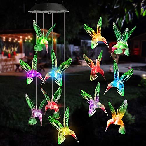 Qedertek Windspiele für Draußen, Solarleuchten LED Mobile Windspiele Farbwechsel, Solarbetriebene Gartenlampe Hßngeleuchte für Garten Hof Rasen Hinterhßfe Wege Party Muttertagsgeschenk(Kolibri)