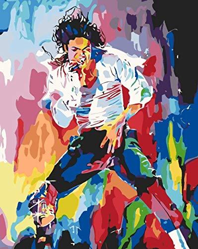 QIAOYUE Malen nach Zahlen - Michael Jackson - Erwachsene und Kinder malenWohnzimmer Schlafzimmer Küche Dekoration Leinwand 40X50Cm (Rahmenlos)