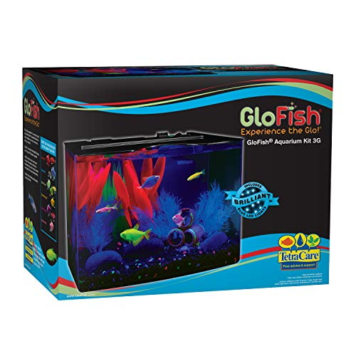 GloFish 3 Gallon Aquarium Kit w/ Cover, Frame, LEDs, Power & Filter