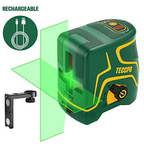Niveau Laser, USB Charge, Laser Croix Vert 30m TECCPO, Autonivellement et Mode Pulsé Extérieur,...