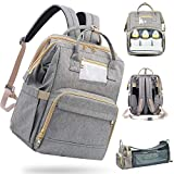 Primlect Diaper Bag Backpack with Changing Bed, Waterproof Diaper Bag with Foldable Crib, Light and High Capacity for Outing, A Good Gift for New Mom/Dad