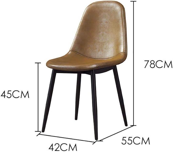 Chaise d'appoint Chaise Longue Chaise Chaise en Fer forgé Cuir Canapé Souple Ménage Restaurant Dossier 42cm * 55cm * 78cm (Couleur : B) C