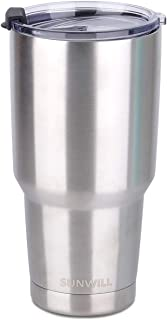 SUNWILL 30oz Tumbler with Lid, Stainless Steel Vacuum Insulated Double Wall Travel Tumbler, Durable Insulated Coffee Mug, Silver, Thermal Cup with Spill Proof Lid