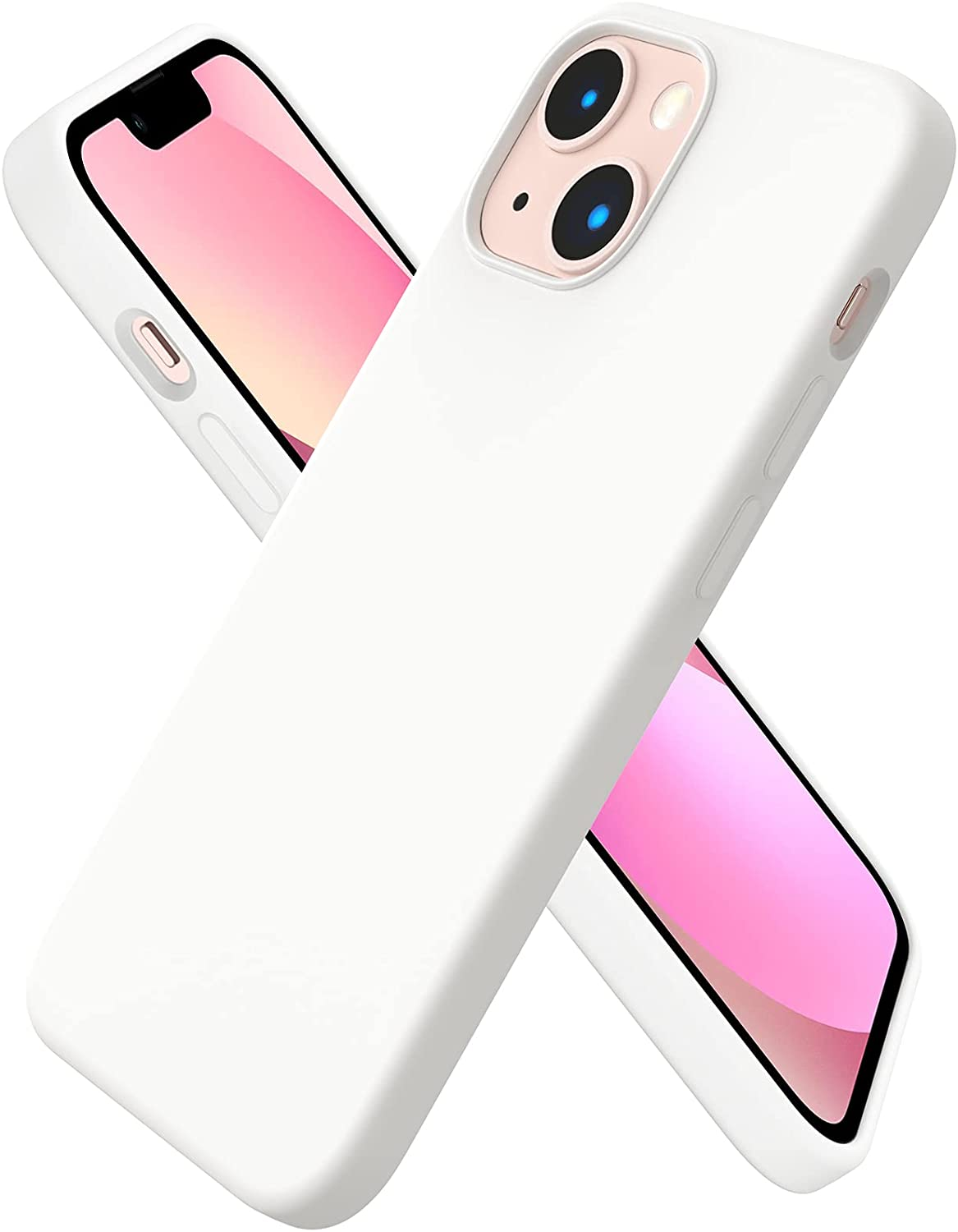 ORNARTO Compatible with iPhone 13 Mini Case, Slim Liquid Silicone 3 Layers Full Covered Soft Gel Rubber with Microfiber Case Cover 5.4 inch-White