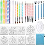 Yizunnu Set de 25 piezas Mandala Dotting Tools Rock Painting Herramientas Kits Dot Art Pen Paint Stencil