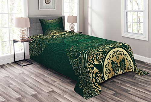Lunarable Hunter Green Bedspread, Retro Oriental Mandala Style Floral Circle Antique Swirls Pattern, Decorative Quilted 2 Piece Coverlet Set with Pillow Sham, Twin Size, Green Yellow